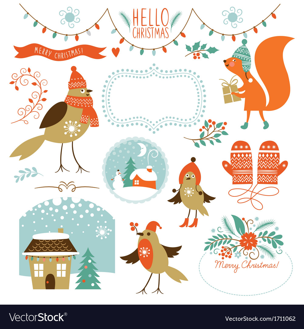 Collection of christmas graphic elements vector | Price: 3 Credit (USD $3)