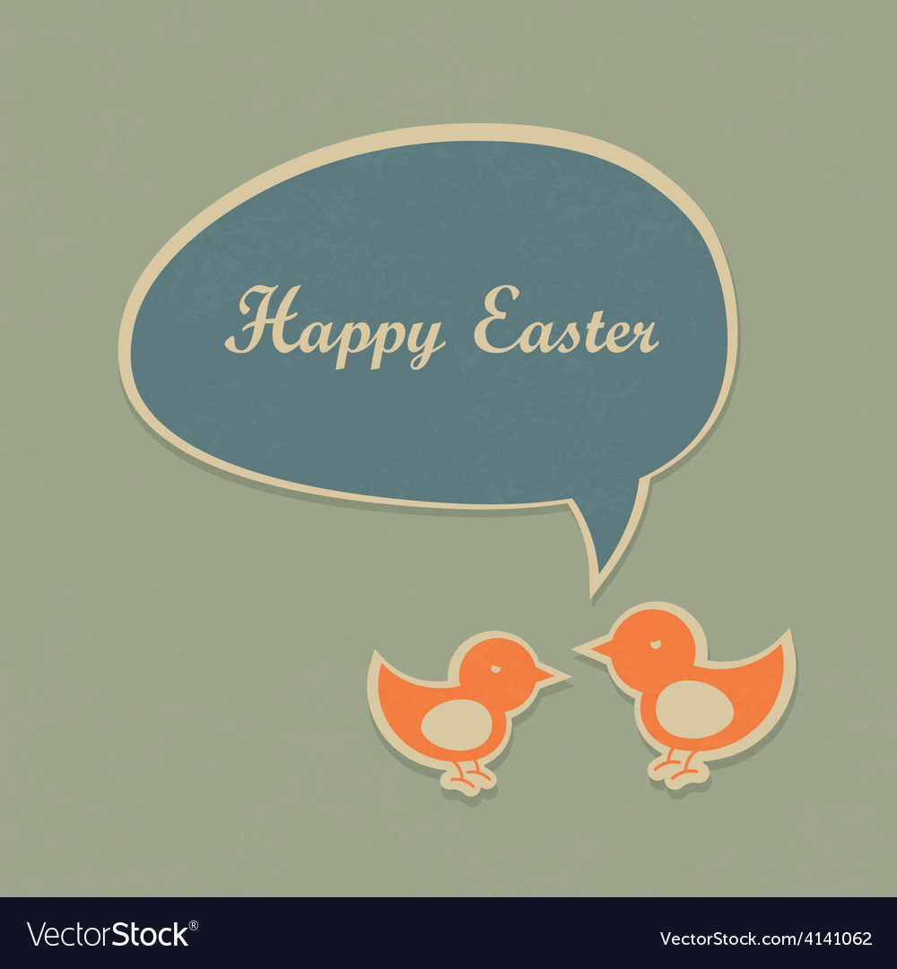 Easter retro card design vector | Price: 1 Credit (USD $1)