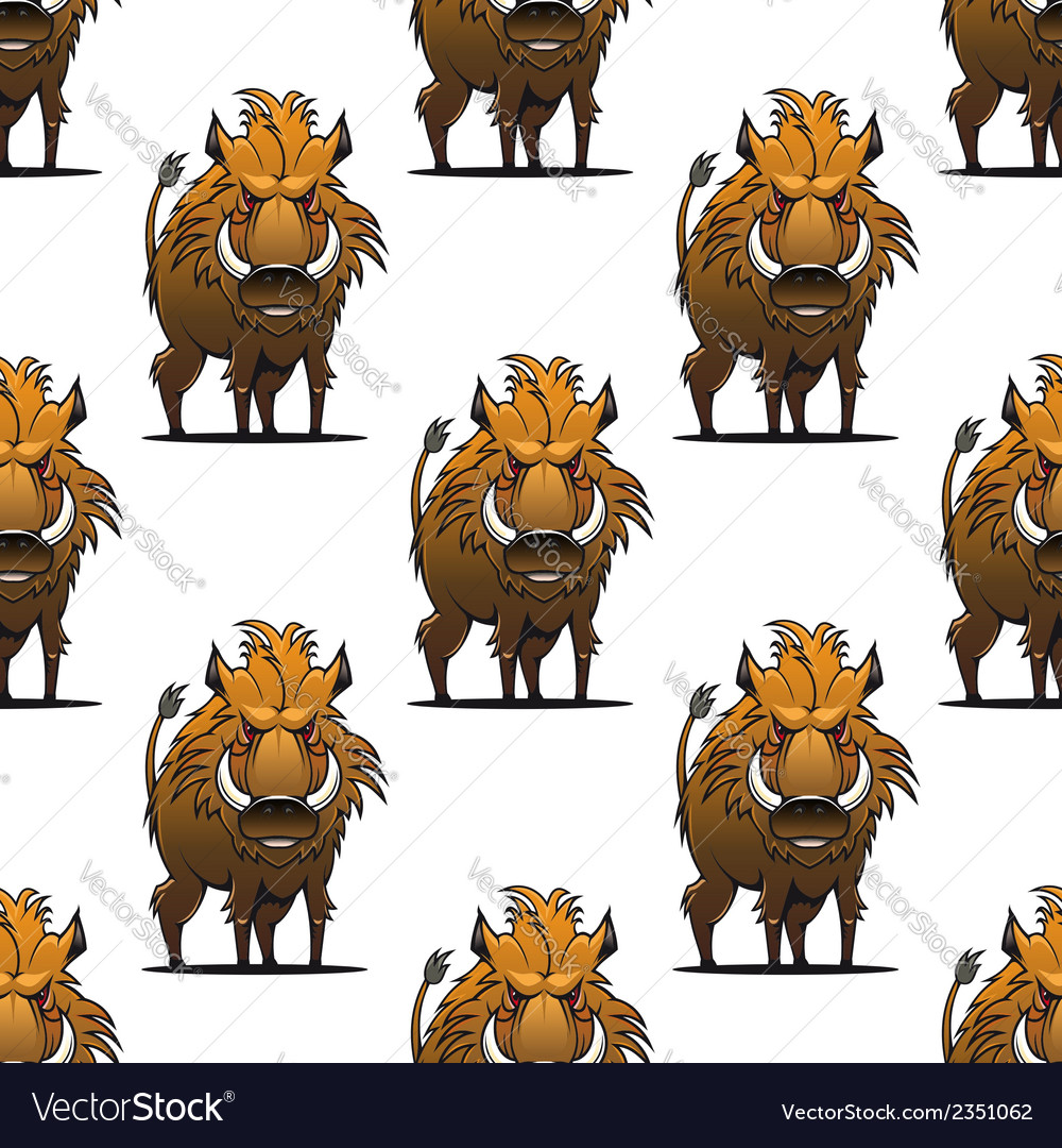 Fierce angry wild boar or warthog seamless pattern vector | Price: 1 Credit (USD $1)