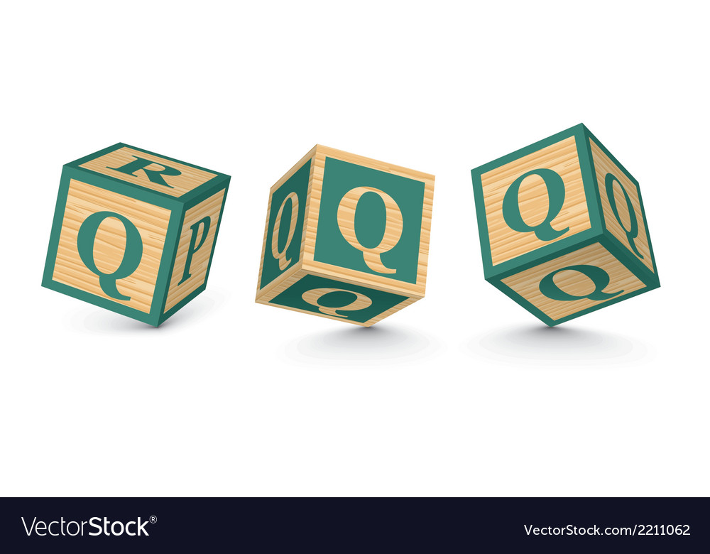 Letter q wooden alphabet blocks vector | Price: 1 Credit (USD $1)
