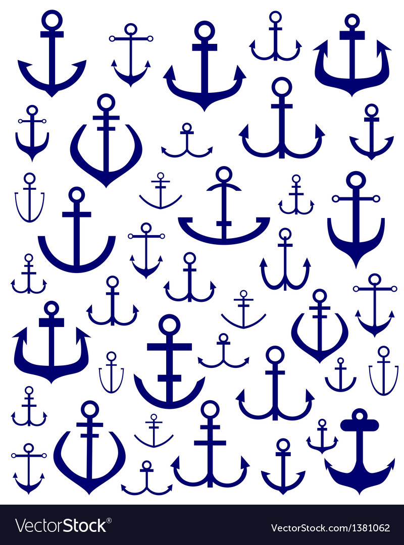 Silhouettes of anchors vector | Price: 1 Credit (USD $1)