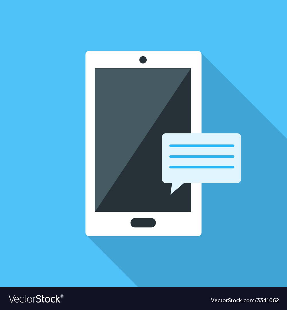 Smartfon flat icon on blue background vector   Price: 1 Credit (USD $1)