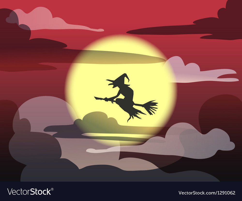 Witch on red sky vector   Price: 1 Credit (USD $1)