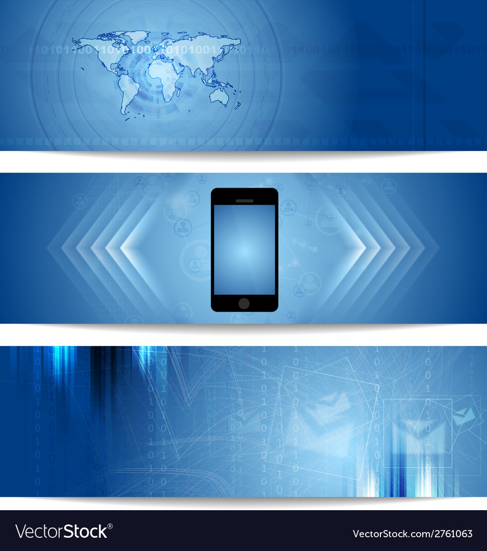 Blue abstract tech banners for web design vector | Price: 1 Credit (USD $1)