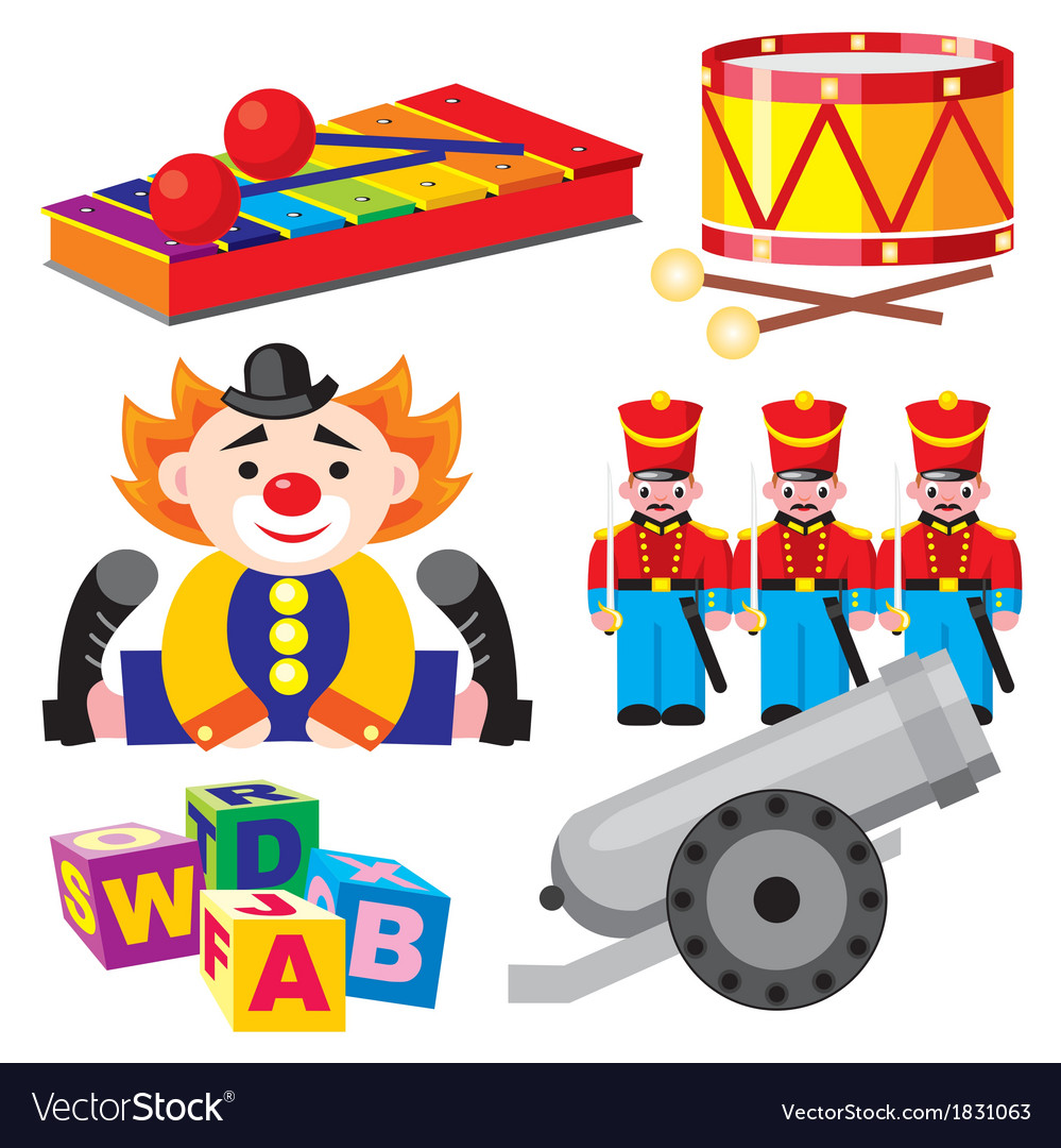 Children toys set vector | Price: 1 Credit (USD $1)