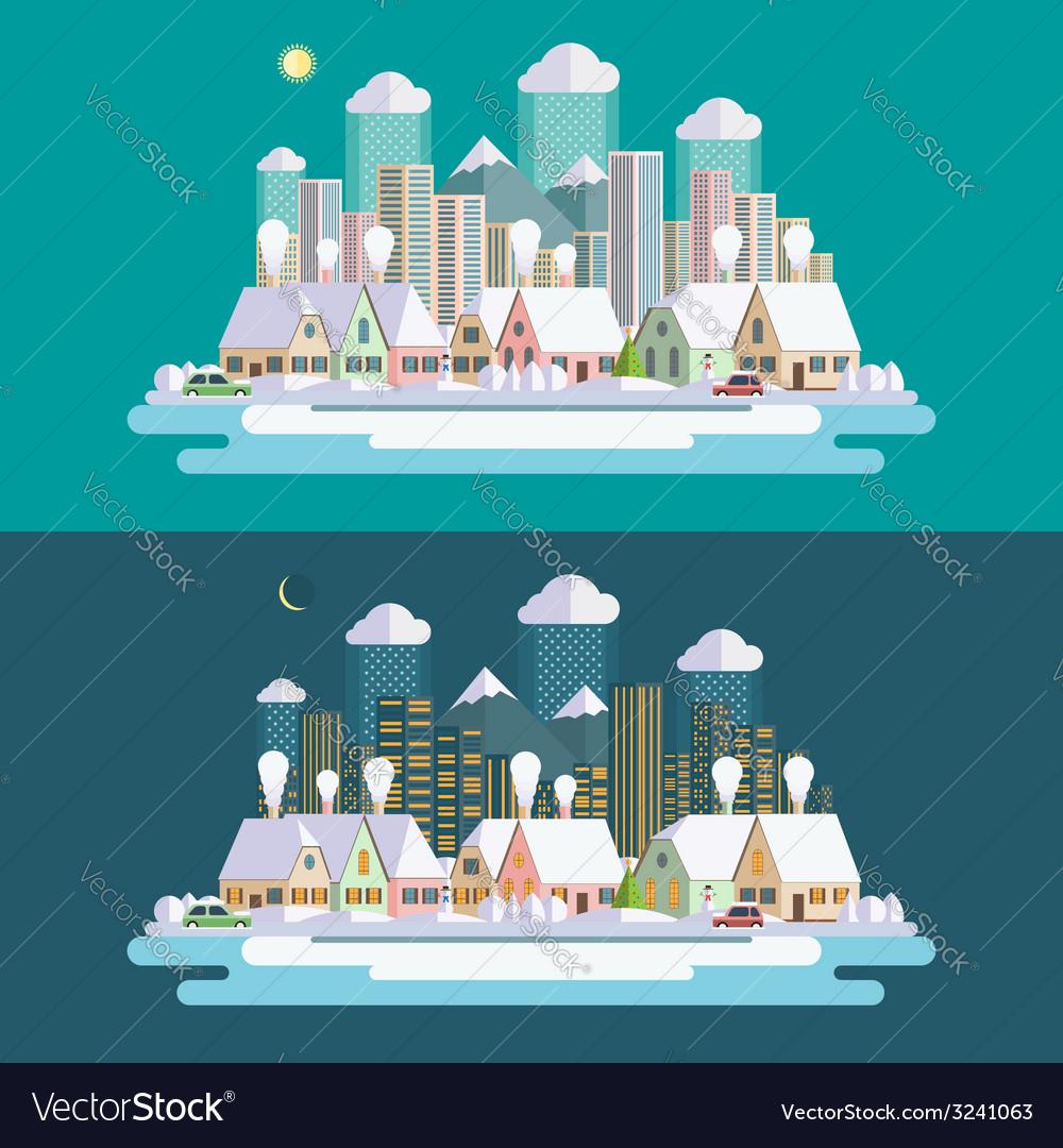 Flat design urban winter landscape vector | Price: 1 Credit (USD $1)