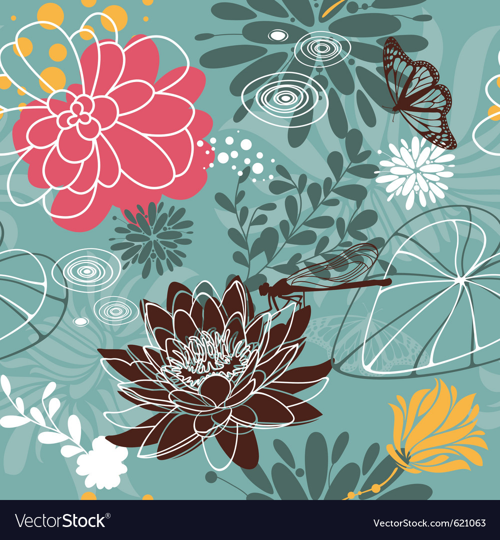Insect seamless floral pattern vector | Price: 1 Credit (USD $1)