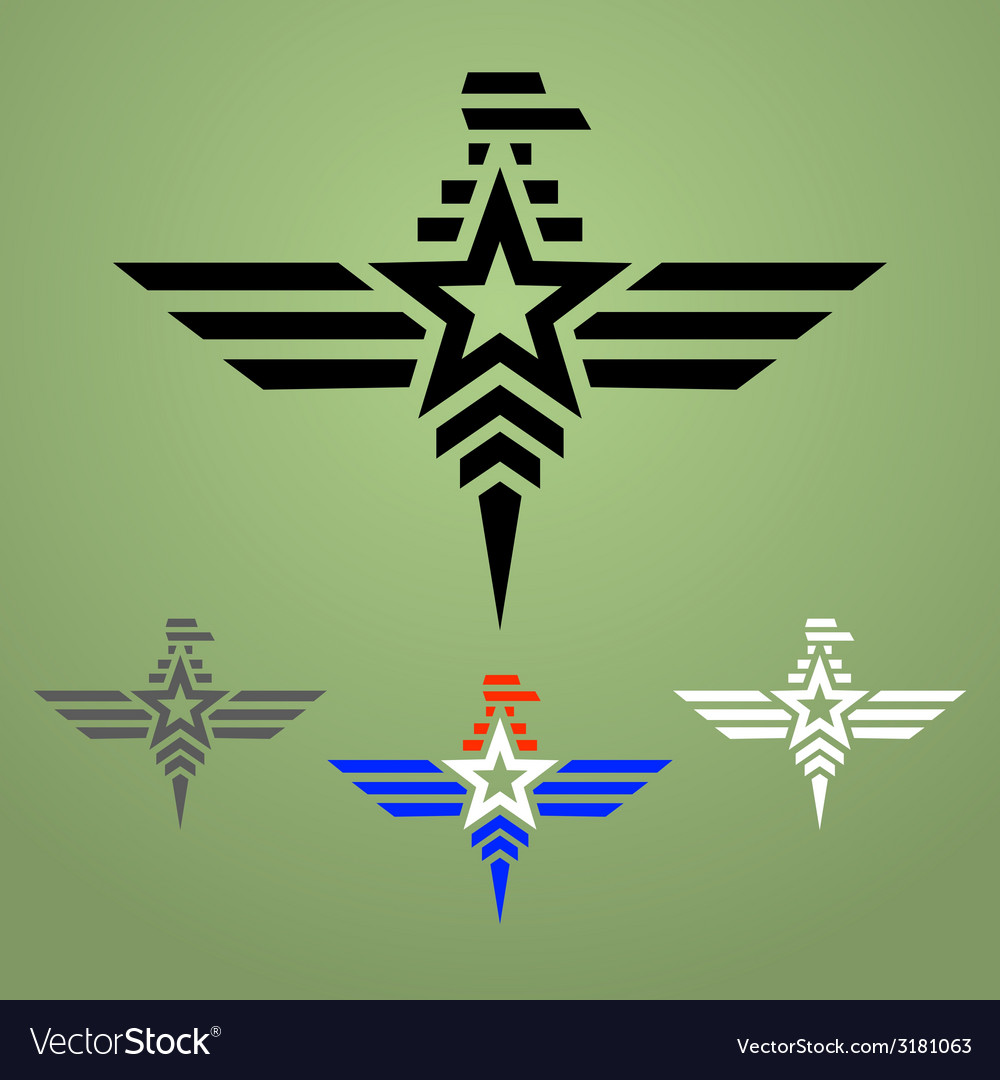 Military style eagle emblem set vector | Price: 1 Credit (USD $1)