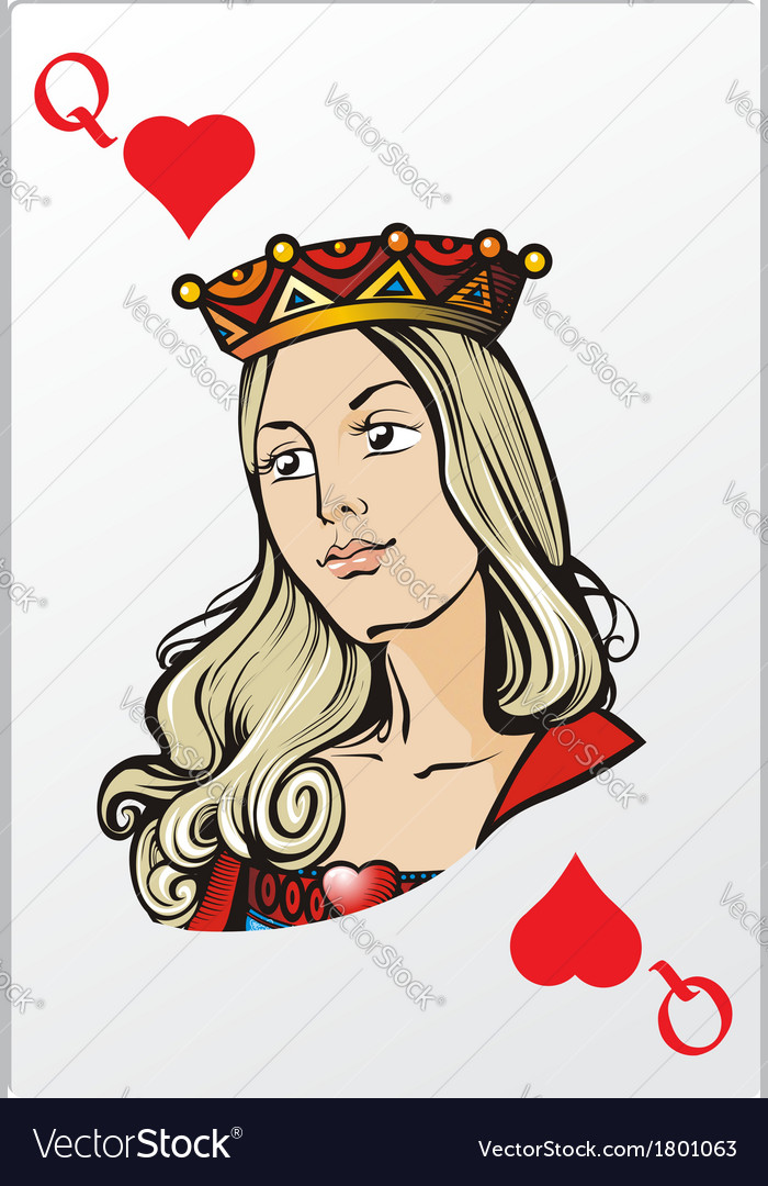 Queen of heart deck romantic graphics cards vector | Price: 3 Credit (USD $3)