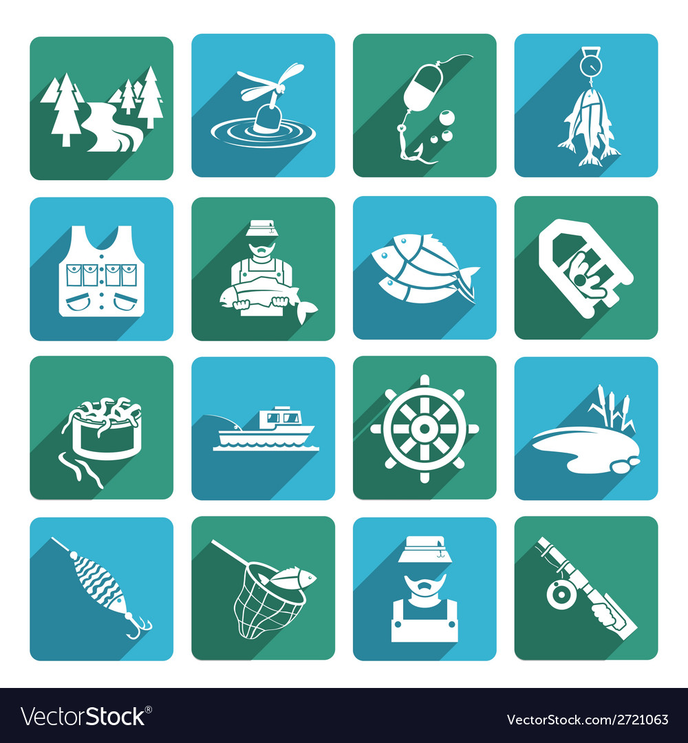 Set of fishing icons vector | Price: 1 Credit (USD $1)