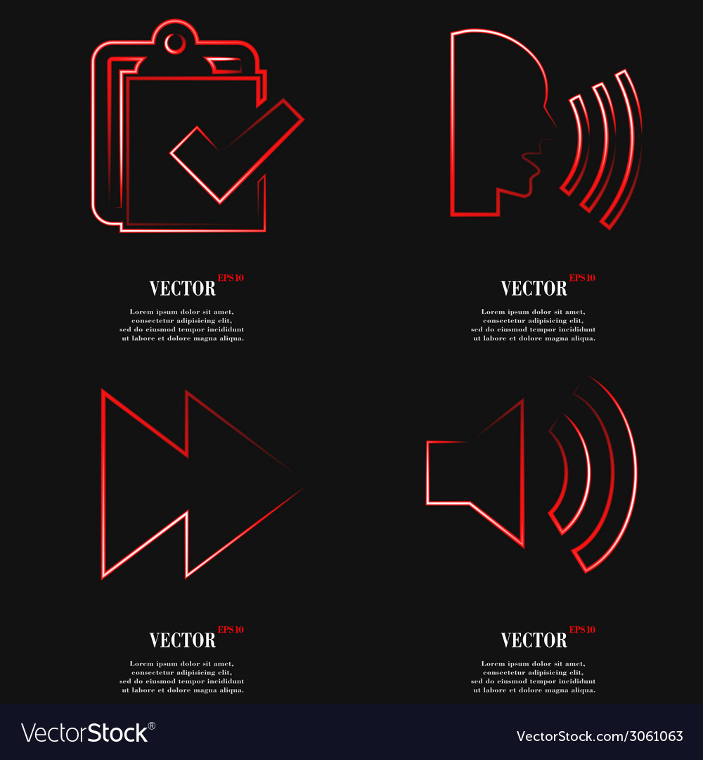 Set of red web icon flat design simple sticker vector   Price: 1 Credit (USD $1)