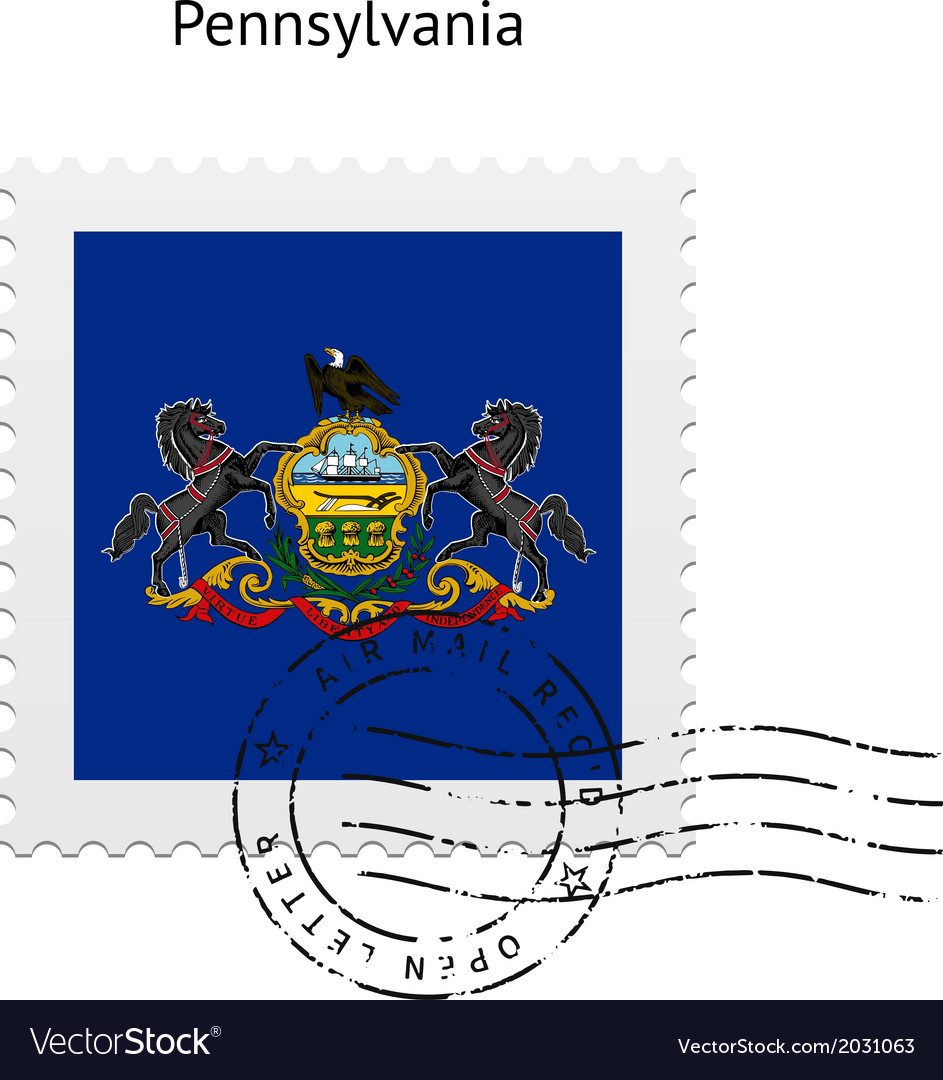 State of pennsylvania flag postage stamp vector | Price: 1 Credit (USD $1)