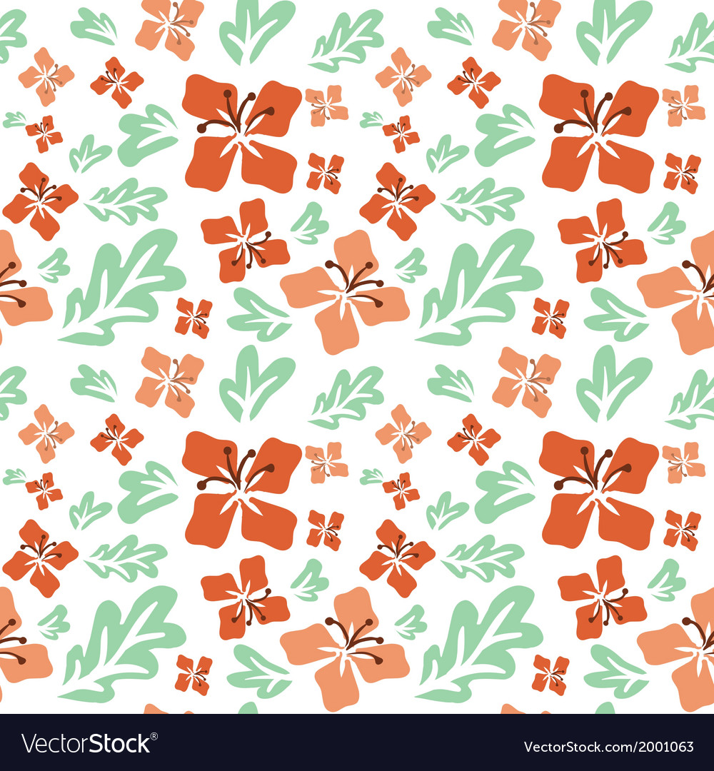 Tropical summer flowers seamless pattern vector | Price: 1 Credit (USD $1)