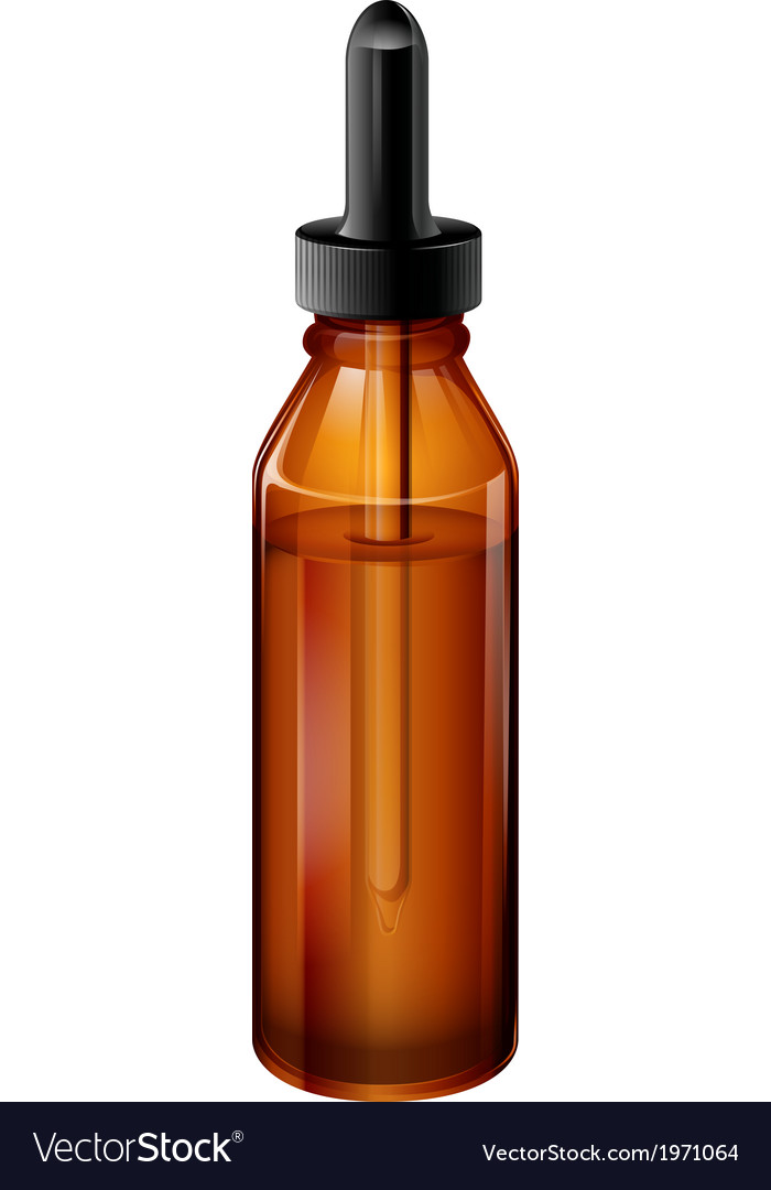 A light brown medical bottle with a dropper vector