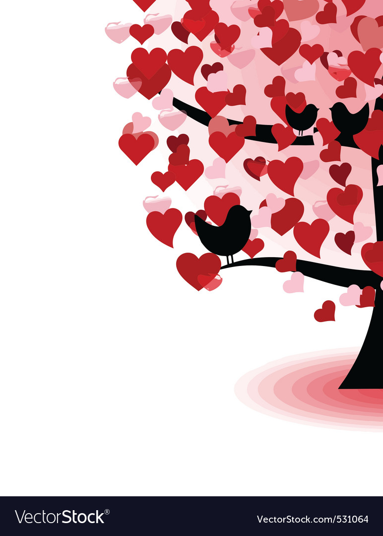 Abstract tree of love hearts and birds vector | Price: 1 Credit (USD $1)