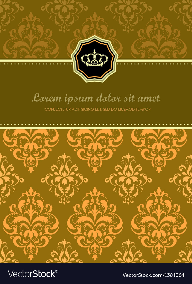 Baroque floral card vector | Price: 1 Credit (USD $1)