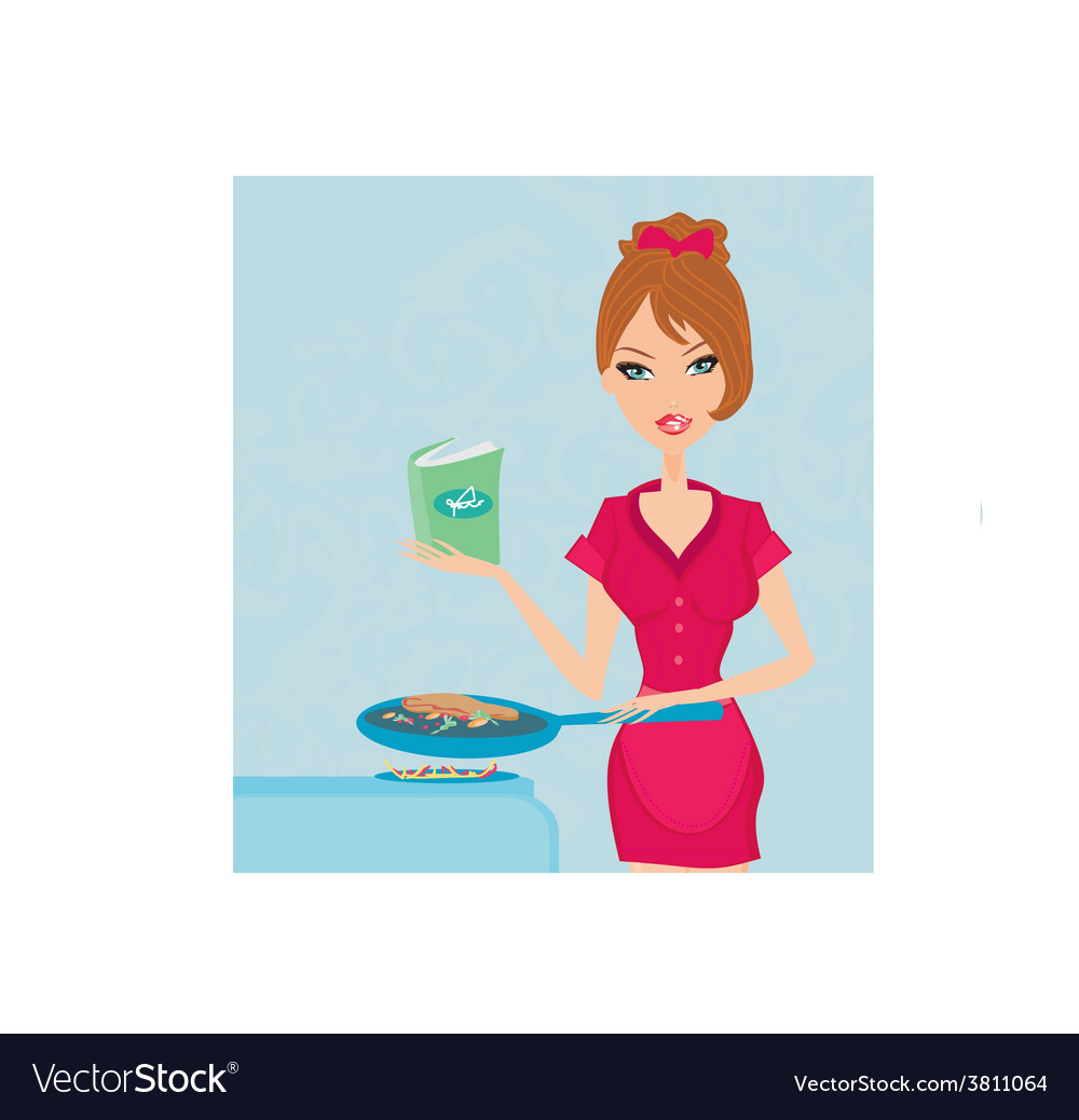 Beautiful woman frying with cooking book in the vector