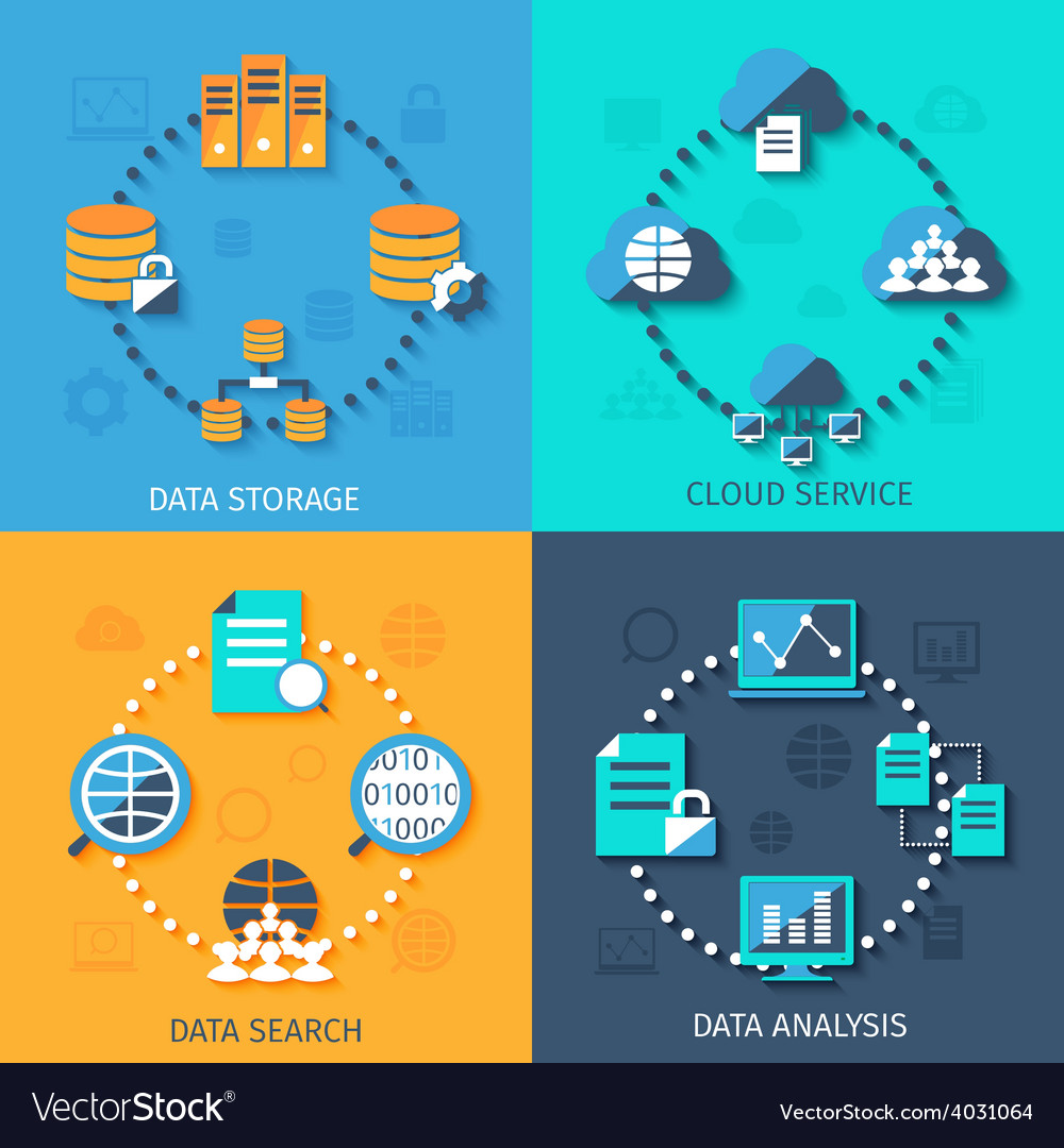 Big data 4 flat icons composition vector | Price: 1 Credit (USD $1)