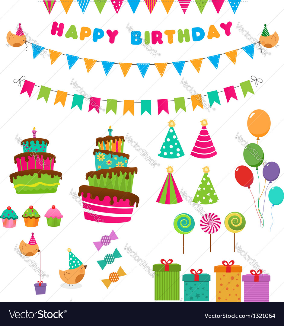 Birthday set vector | Price: 1 Credit (USD $1)