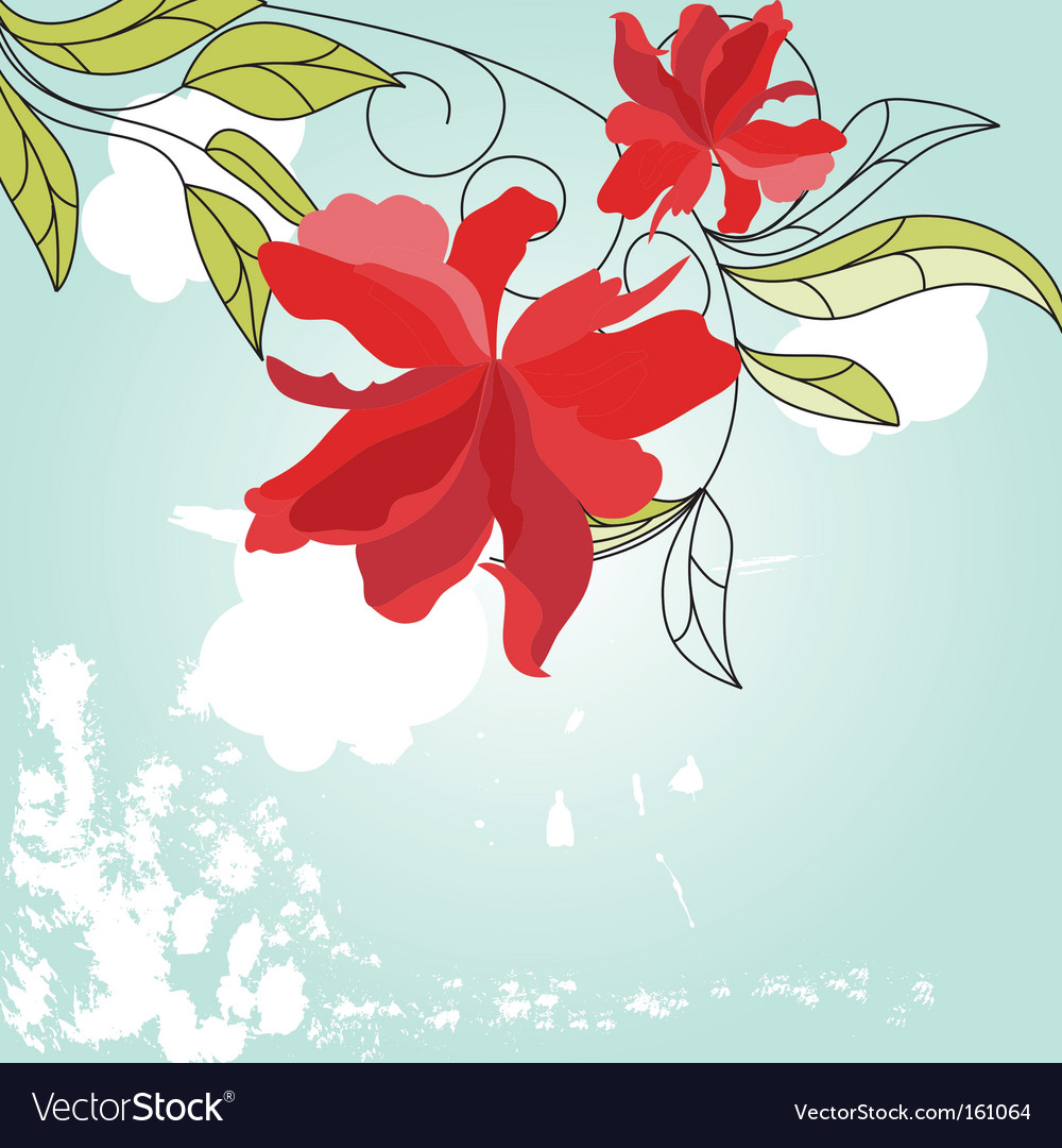 Blue background with red flowers vector | Price: 1 Credit (USD $1)