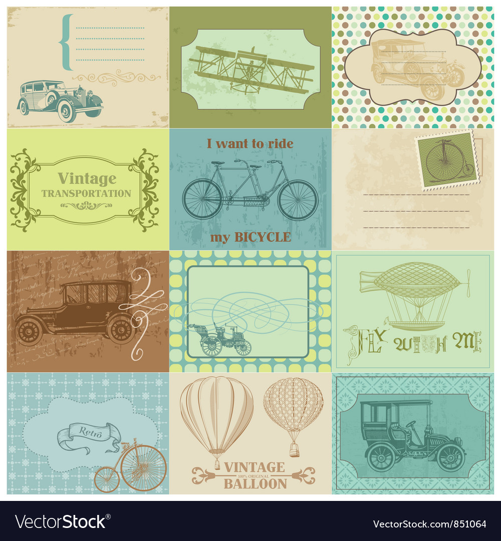 Design elements - vintage transportation vector | Price: 1 Credit (USD $1)