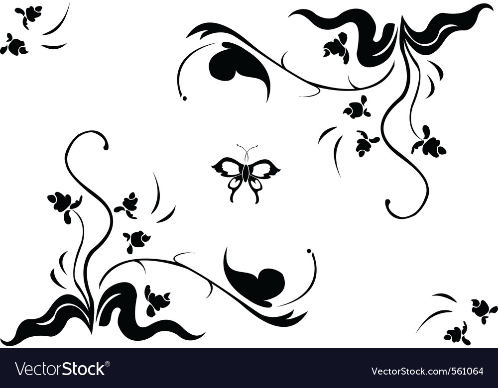 Floral swirl element vector | Price: 1 Credit (USD $1)