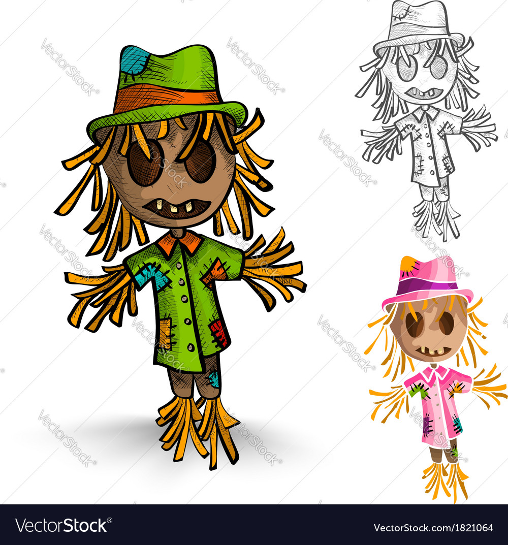 Halloween monsters isolated hand drawn scarecrows vector | Price: 1 Credit (USD $1)