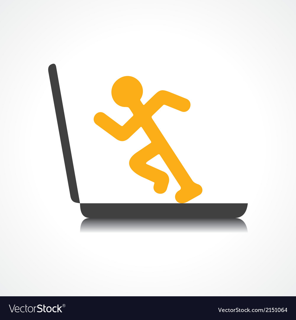 Man running with technology vector | Price: 1 Credit (USD $1)