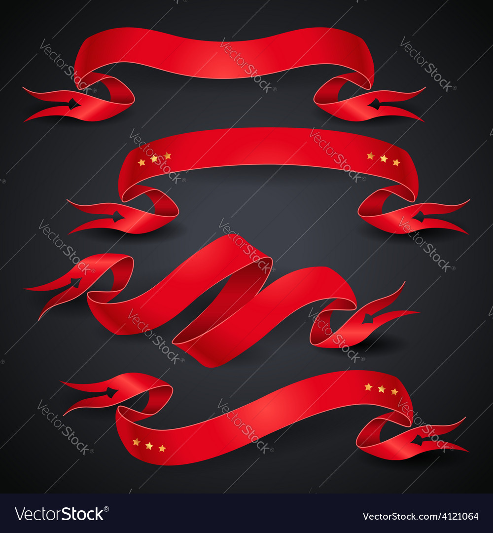 Red ribbons black vector | Price: 1 Credit (USD $1)
