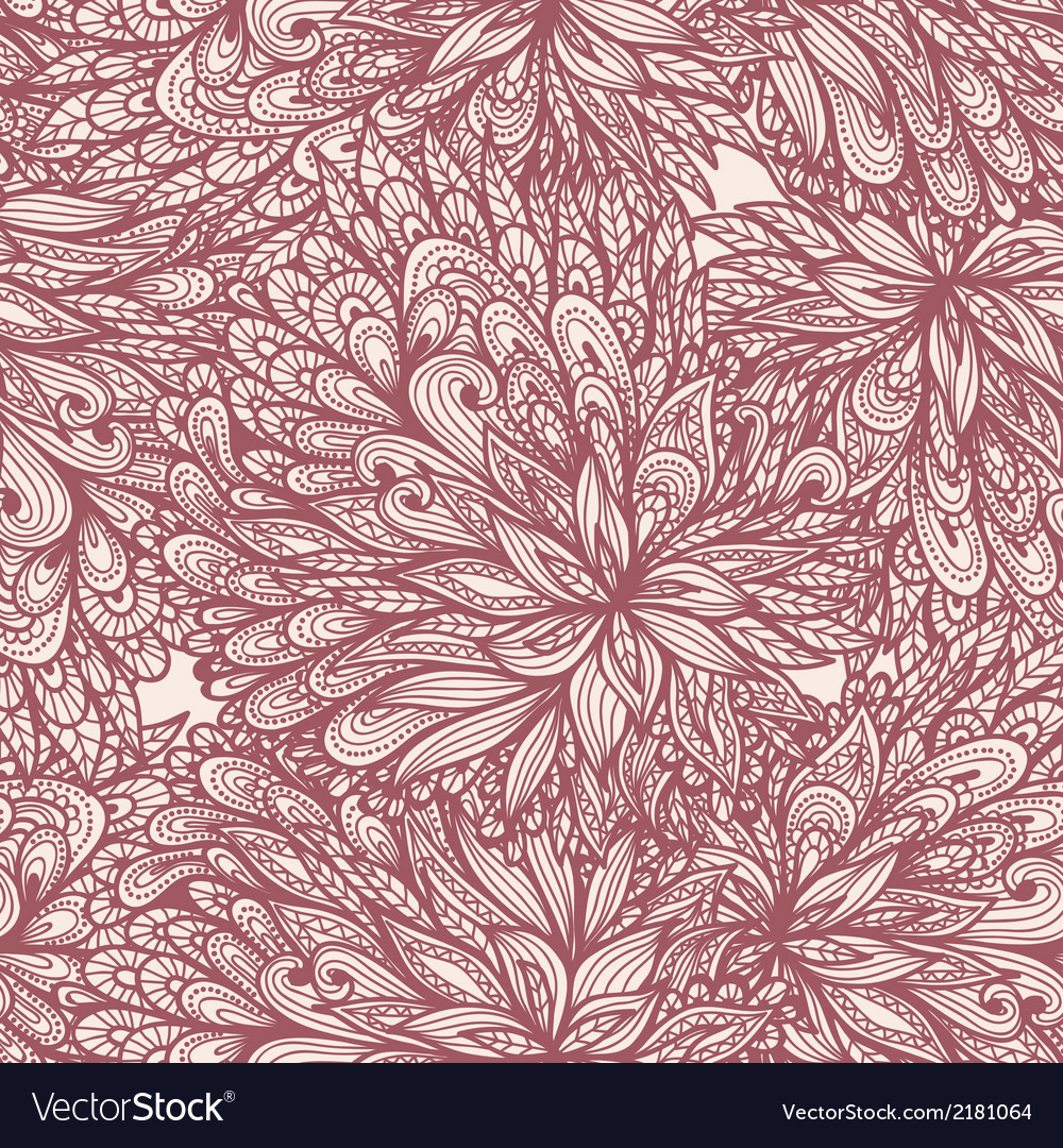 Seamless floral doodle pattern vector | Price: 1 Credit (USD $1)