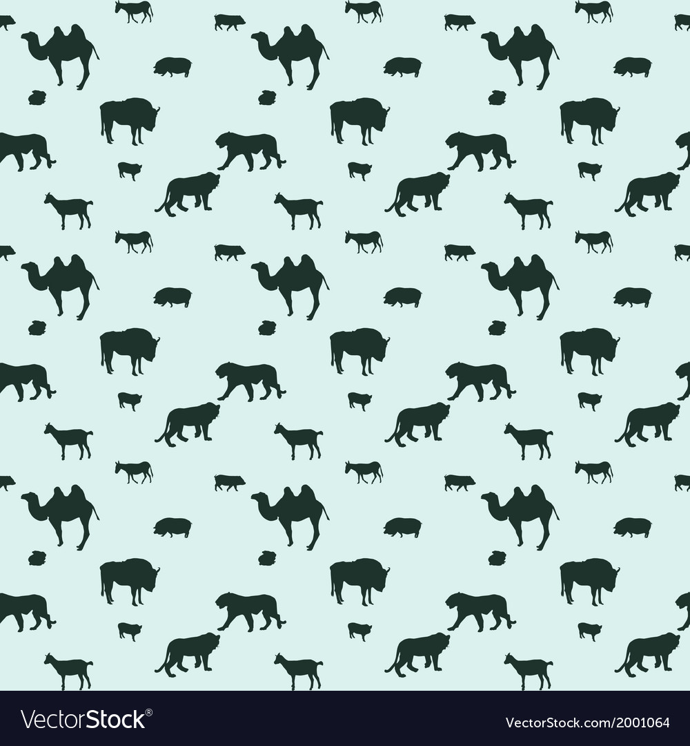Silhouette of wild and domestic animals seamless vector | Price: 1 Credit (USD $1)