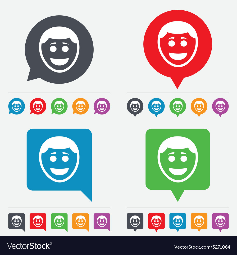 Smile face icon smiley with hairstyle symbol vector   Price: 1 Credit (USD $1)