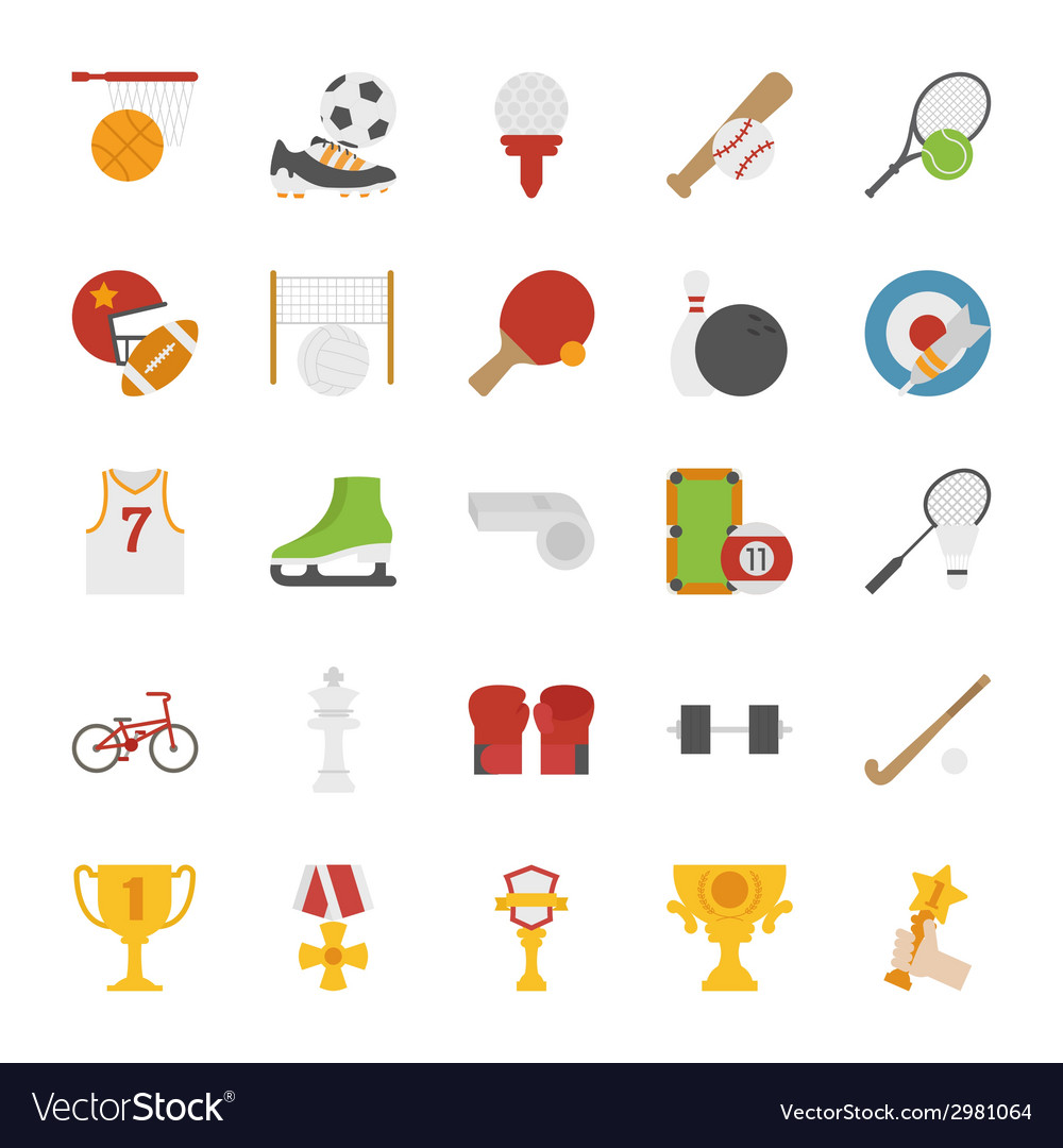 Sport icons flat design vector | Price: 1 Credit (USD $1)