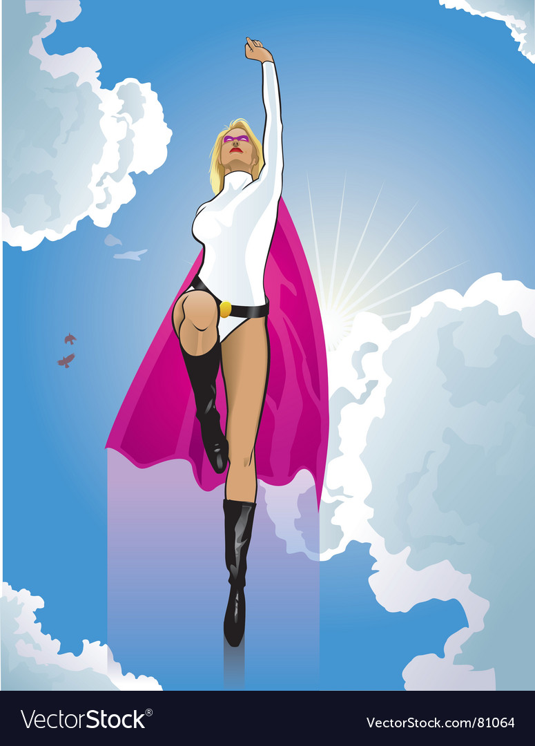Super woman flying vector | Price: 3 Credit (USD $3)