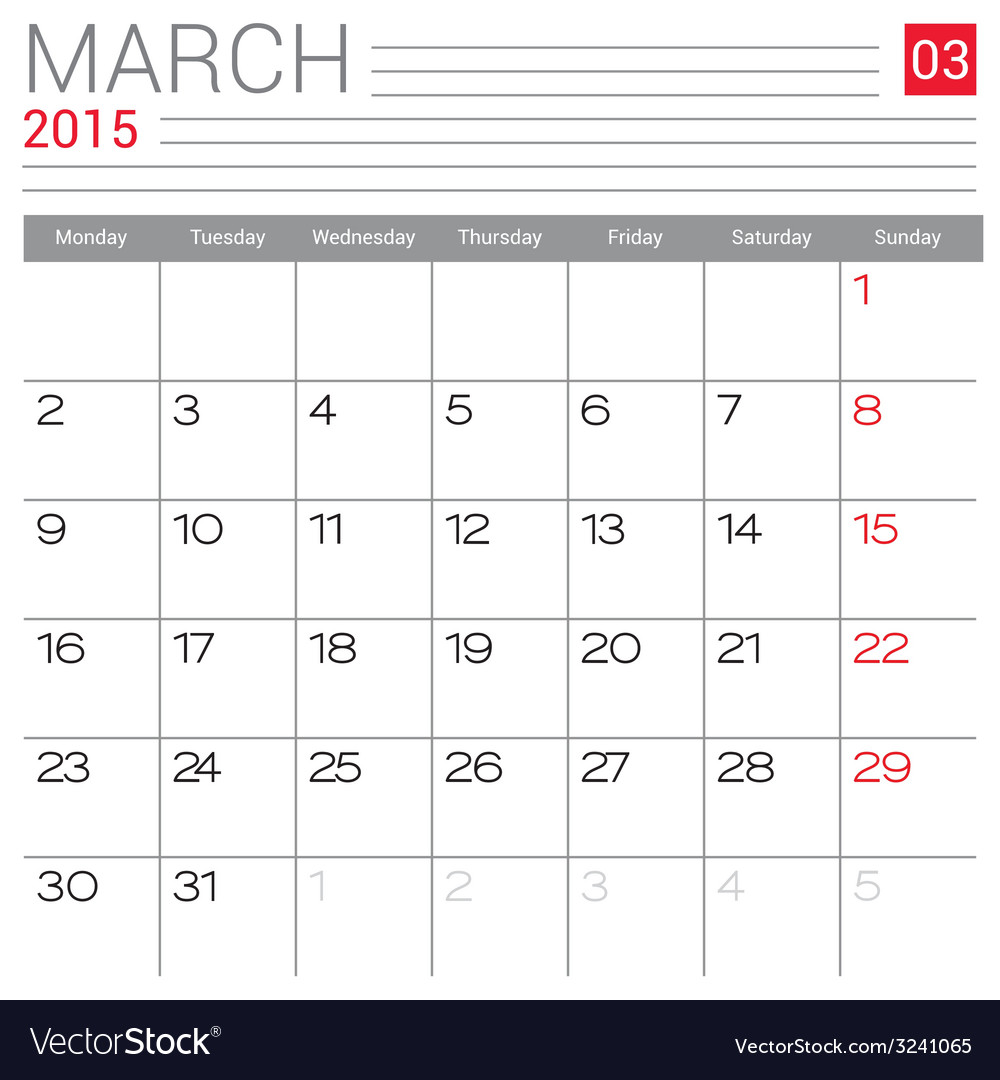 2015 march calendar page vector | Price: 1 Credit (USD $1)