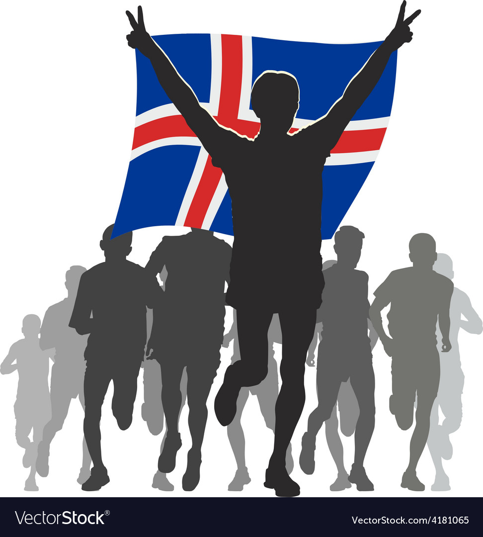 Athlete with the iceland flag at the finish vector | Price: 1 Credit (USD $1)