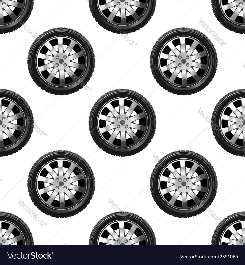 Automobile wheel seamless pattern vector | Price: 1 Credit (USD $1)