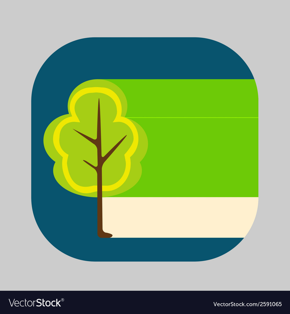 Beautiful icon flat blossoming tree eps vector | Price: 1 Credit (USD $1)