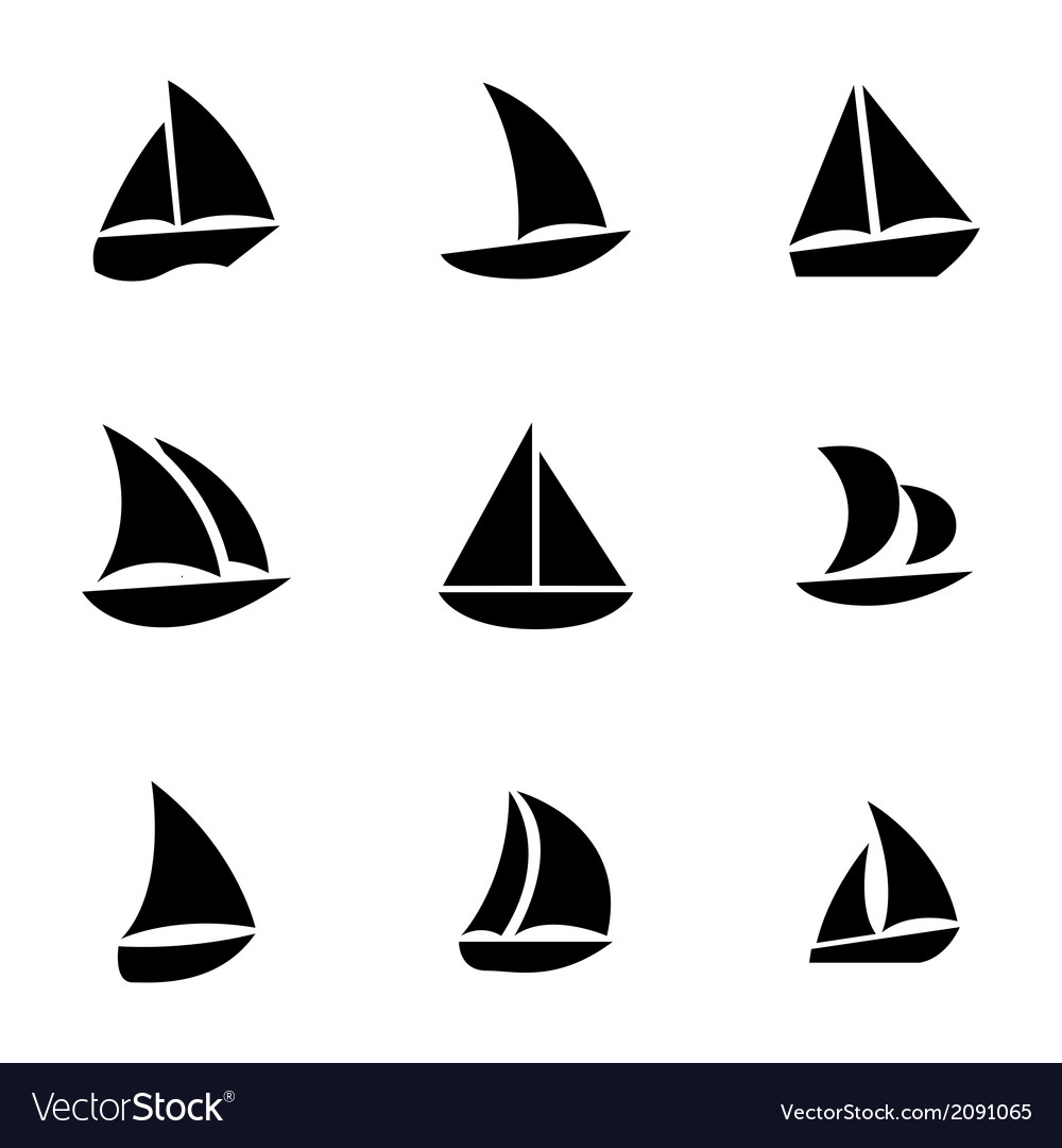 Black sailboat icons set vector | Price: 1 Credit (USD $1)