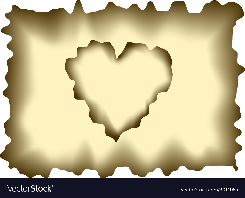 Burnt heart shaped paper vector | Price: 1 Credit (USD $1)