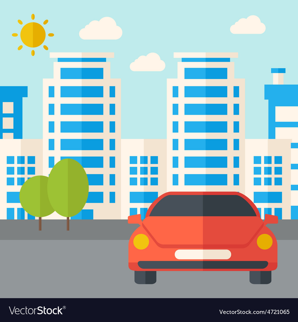 Car infront of the building vector | Price: 1 Credit (USD $1)