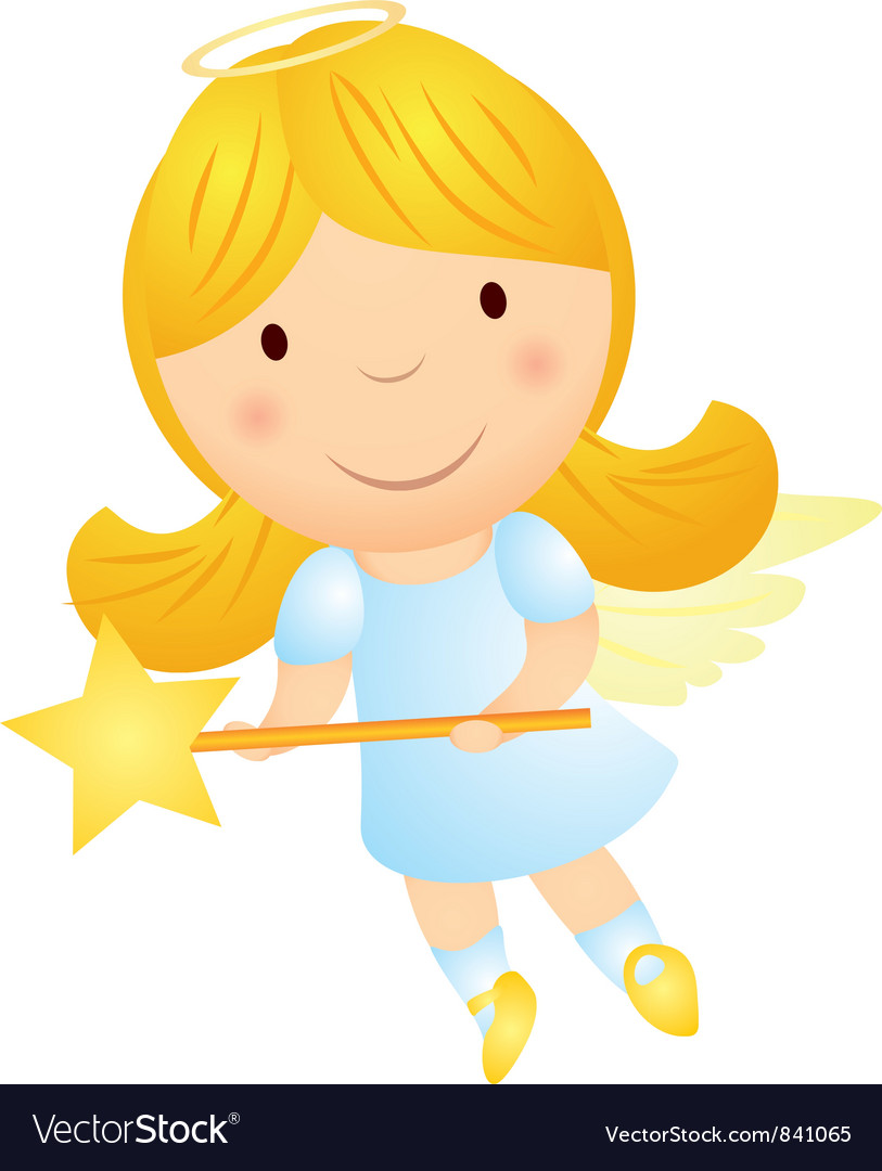 Cartoon angel girl with magic wand vector | Price: 1 Credit (USD $1)