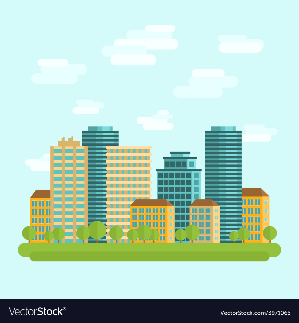 City downtown centre flat vector | Price: 1 Credit (USD $1)