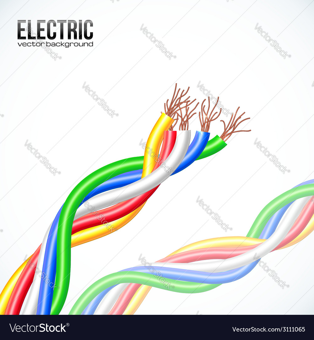 Colored plastic cables on white vector | Price: 1 Credit (USD $1)
