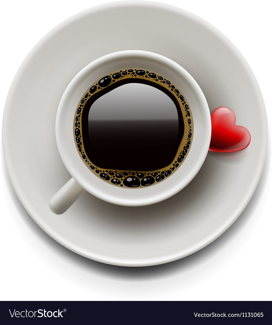 Cup of coffee top view valentines day vector | Price: 3 Credit (USD $3)