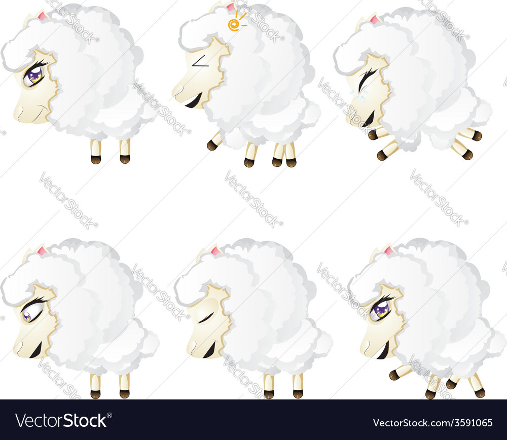 Cute chibi sheep4 vector | Price: 1 Credit (USD $1)
