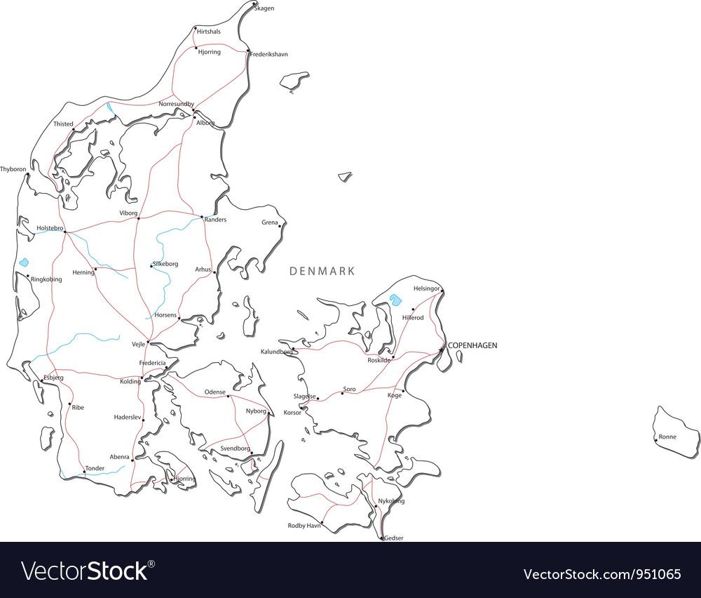Denmark black white map vector | Price: 1 Credit (USD $1)