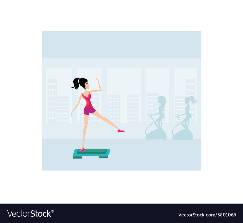 Exercise on aerobic step vector | Price: 1 Credit (USD $1)
