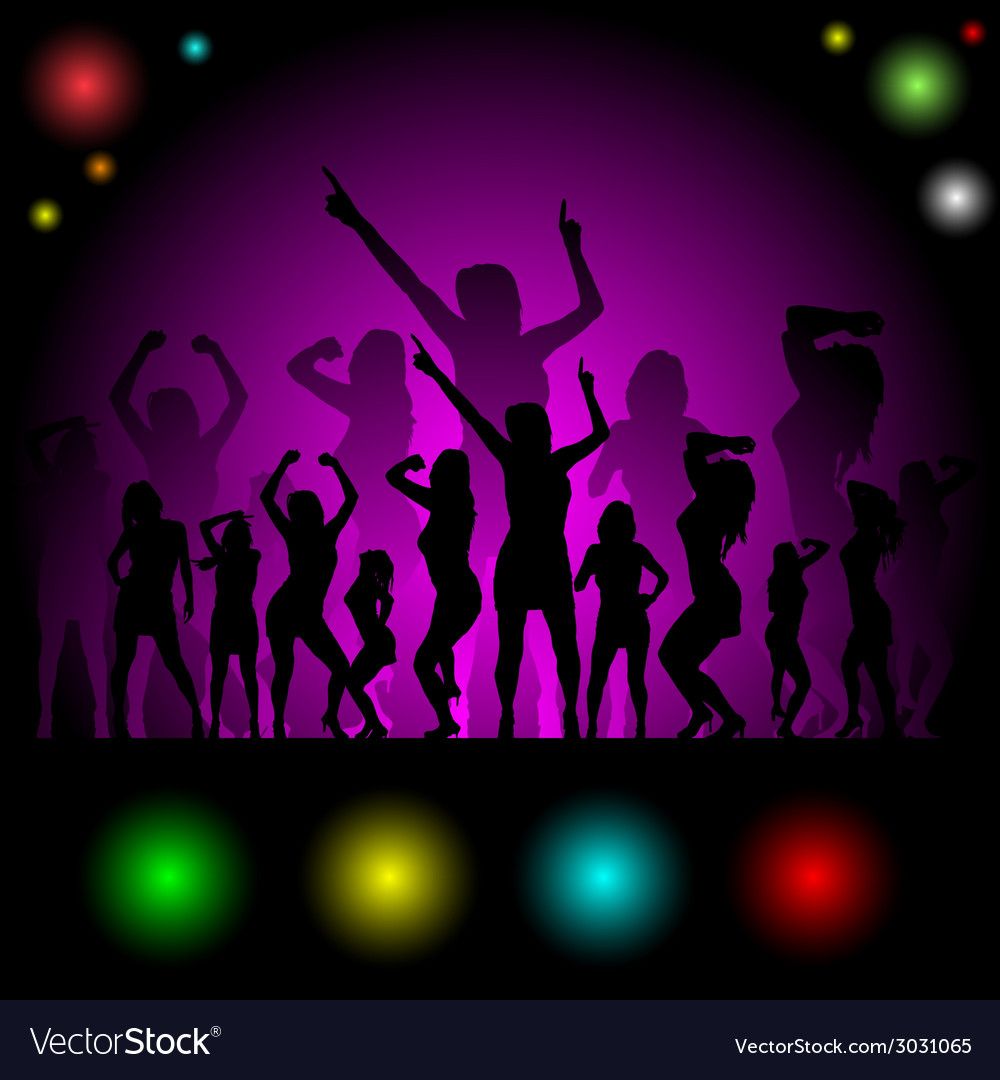 Party in disco with girl silhouette vector | Price: 1 Credit (USD $1)