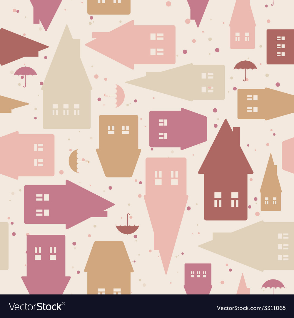Seamless pattern with houses and umbrellas vector | Price: 1 Credit (USD $1)